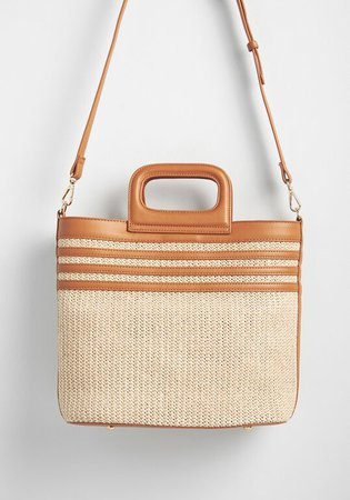 Just Beachy Straw Crossbody Bag Tan | ModCloth