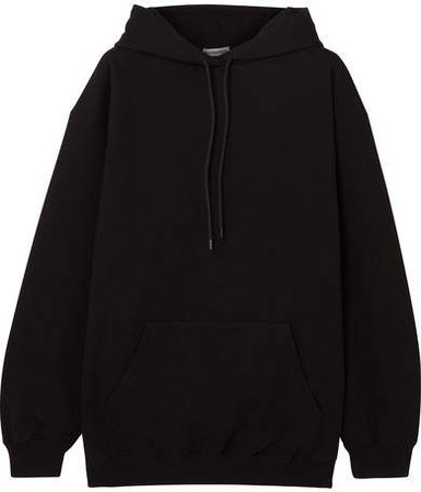 Oversized Printed Cotton-jersey Hooded Top - Black