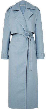 ANNA QUAN - Inez Cotton-gabardine Trench Coat - Light blue