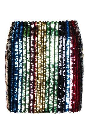 Rainbow Stripe Sequin Mini Skirt   boohoo