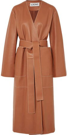 Belted Leather Coat - Tan