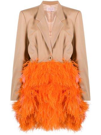 Natasha Zinko long-sleeve feather coat - FARFETCH