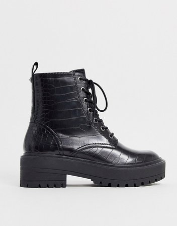 Stradivarius croc effect lace up chunky soled boots in black | ASOS