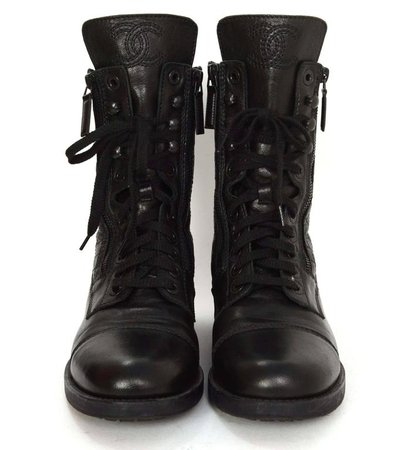 Chanel Black Leather Lace Up Combat Boots