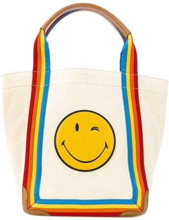 Smiley rainbow tote