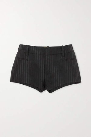 Pinstriped Wool-twill Shorts - Black