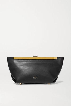 Black pleat leather clutch