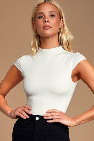 White Bodysuit - Funnel Neck Bodysuit - Short Sleeve Bodysuit