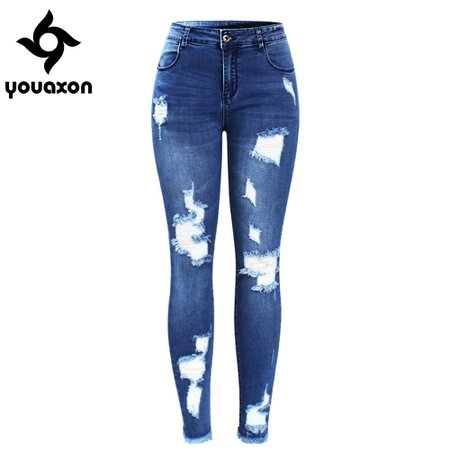 2127 Youaxon New Ultra Stretchy Blue Tassel Ripped Jeans Woman Denim Pants Trousers For Women Pencil Skinny Jeans-in Jeans from Women's Clothing on Aliexpress.com | Alibaba Group