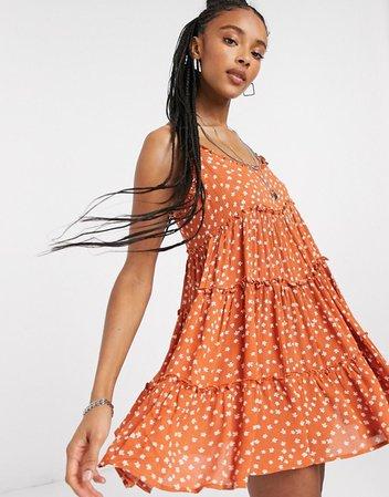 Bershka babydoll ditsy floral dress in red | ASOS