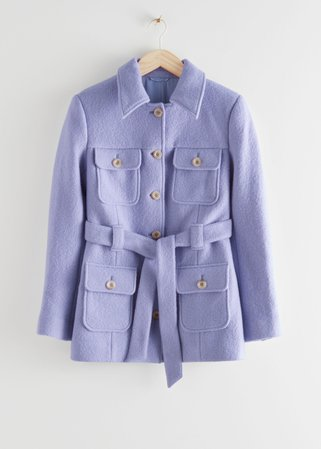 Belted Button Up Wool Jacket - Lilac - Jackets - & Other Stories