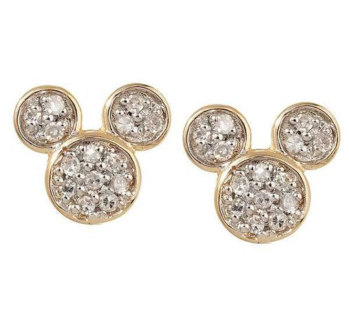 Disney Mickey Mouse Pave 1/8 ct tw Diamond Stud Earrings 14K - Page 1 — QVC.com