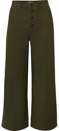 Emmett Stretch-cotton Canvas Wide-leg Pants - Army green