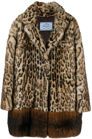 leopard print single-breasted coat