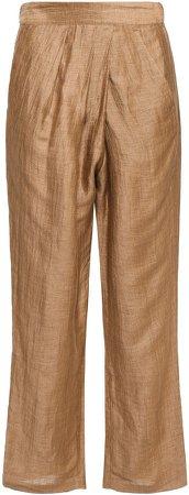 Moulin Wrap-effect Linen-blend Straight-leg Pants