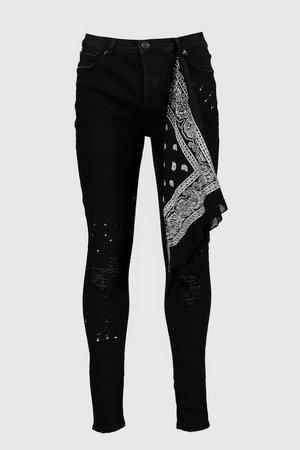 Super Skinny Jeans With Bandana Repair | Boohoo