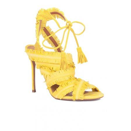 High heel sandals in yellow suede - online shoe store Pura Lopez . PURA LOPEZ