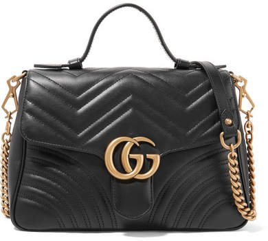 Gg Marmont Small Quilted Leather Shoulder Bag - Black