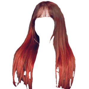 Brown Hair with Red Tips Bangs PNG