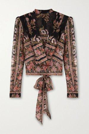 Black Draped floral-print silk-crepon blouse   Etro   NET-A-PORTER