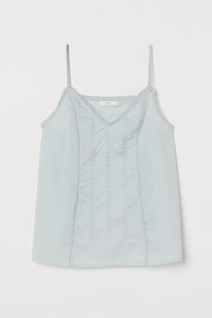 Embroidered Cotton Camisole - Turquoise