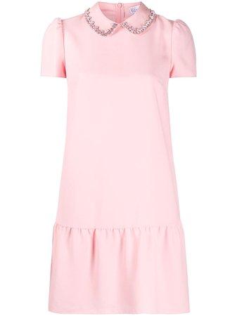 Pink RedValentino rhinestone embroidered mini dress - Farfetch