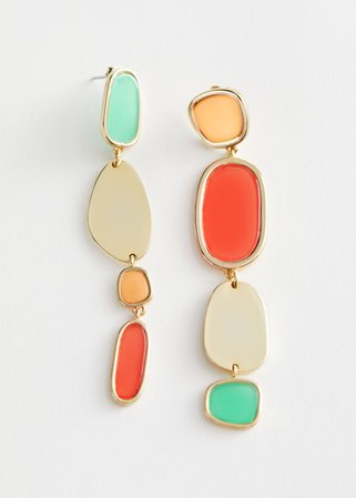 Colour Block Mismatch Hanging Earrings - Gold - Drop earrings - & Other Stories