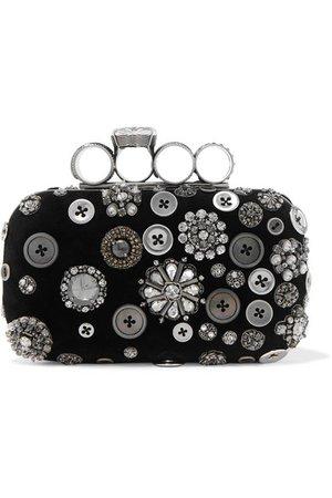 Alexander McQueen   Four-Ring embellished suede clutch   NET-A-PORTER.COM