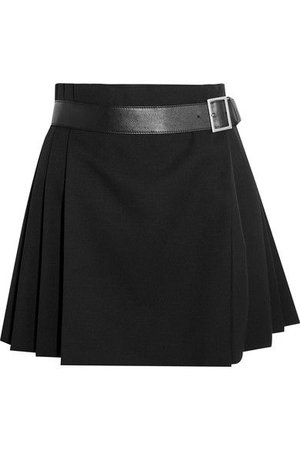 Black grain de poudre wool Concealed button fastenings at front  skirt