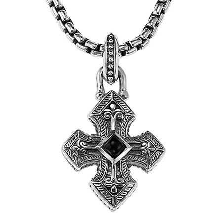 Scott Kay Gothic Cross Black Onyx Inlay Mens Sterling Silver Necklace | Amazon.com