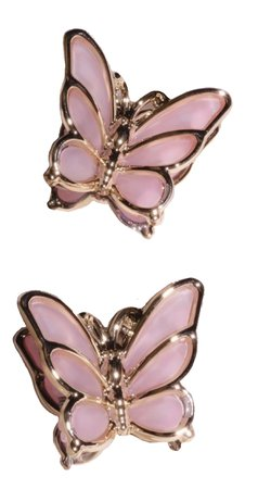 pink and gold butterfly clips