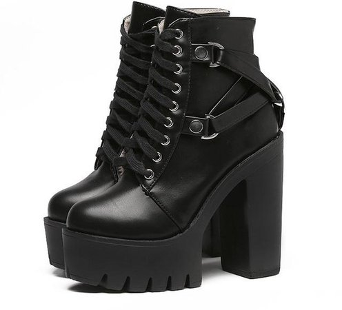 Chunky Heel Gothic Platform Boots