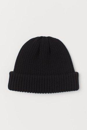 Rib-knit Hat - Black