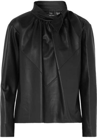 Chay Textured Leather Blouse - Black