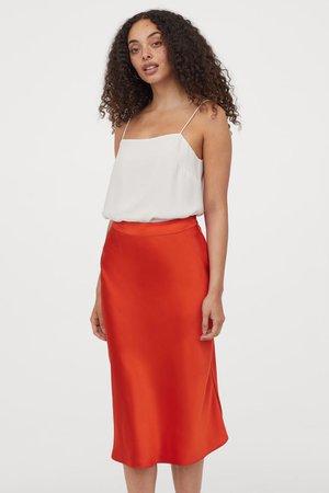 Satin Skirt - Orange - Ladies | H&M US