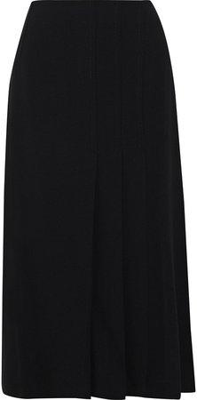 Ethel Pleated Crepe Midi Skirt