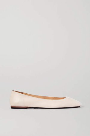 Square-toe Leather Ballet Flats - Off-white