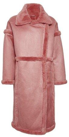 **Vila Pink Faux Fur Longline Coat