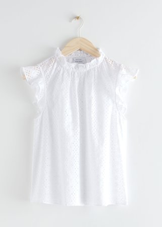Frilled Broderie Anglaise Blouse - White - Blouses - & Other Stories