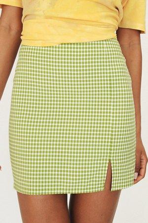 There She Goes Check Mini Skirt // Green – Verge Girl