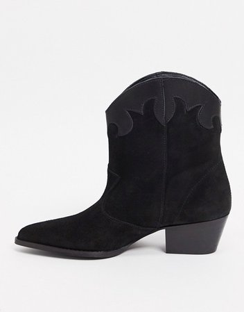 Depp leather contrast boots in black suede | ASOS