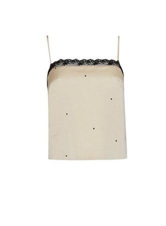 Beige Satin Spot Lace Trim Camisole Top   Miss Selfridge