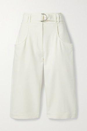 Belted Crepe Shorts - Ivory