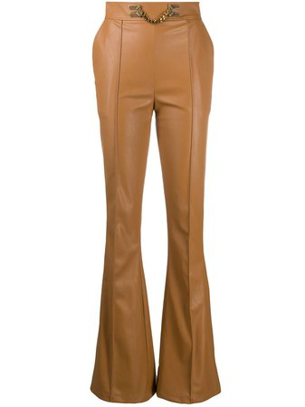 Elisabetta Franchi Flared chain-detail Trousers - Farfetch
