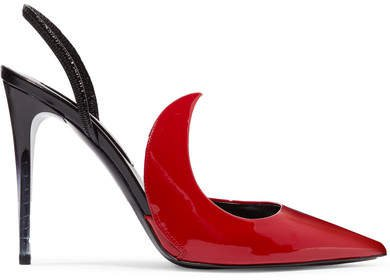 Mars - Naked Ala Two-tone Patent-leather Slingback Pumps - Red