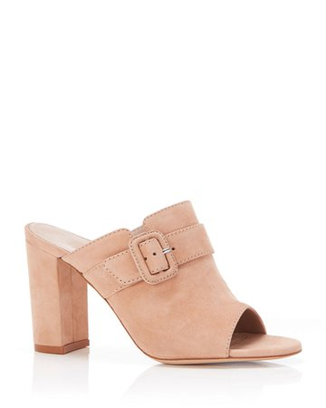 Marion Parke Lidia Suede Buckle Mule Sandals | Neiman Marcus