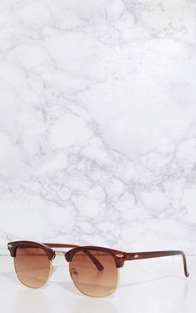Brown Classic Retro Sunglasses | Sunglasses | PrettyLittleThing