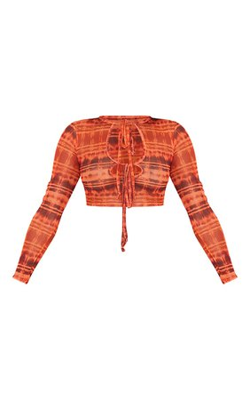 Orange Print Mesh Double Tie Keyhole Crop Top   PrettyLittleThing USA