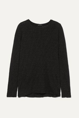 Distressed Slub Cotton-jersey Top - Black
