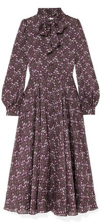 Meteore Pussy-bow Floral-print Silk Maxi Dress - Purple
